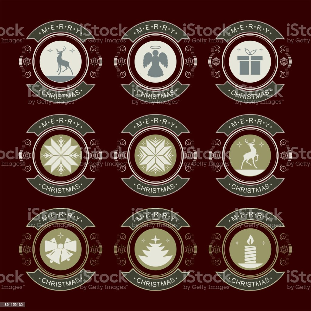 round emblem with christmas symbols, set royalty-free round emblem with christmas symbols set stock vector art & more images of angel
