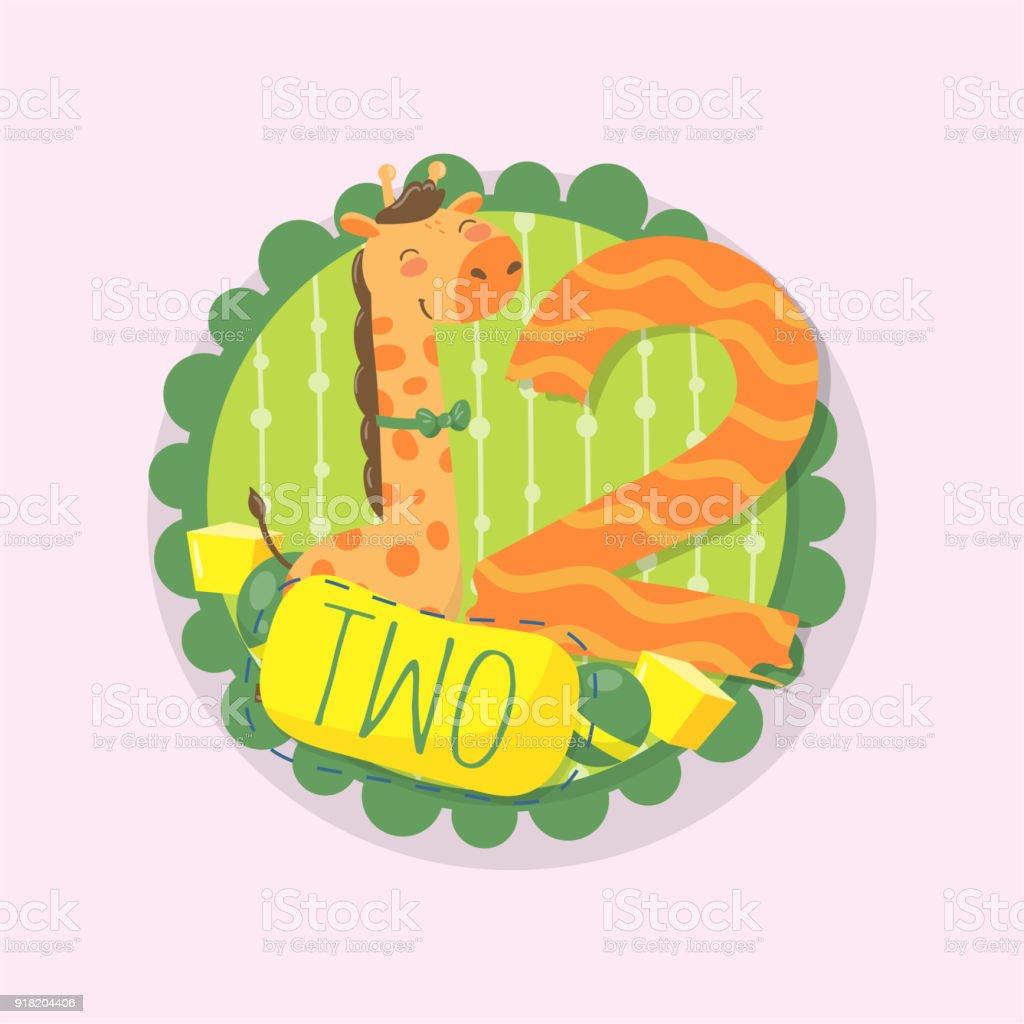 Ilustración de Emblema Redondo Con Jirafa Divertida Y Número Dos ...