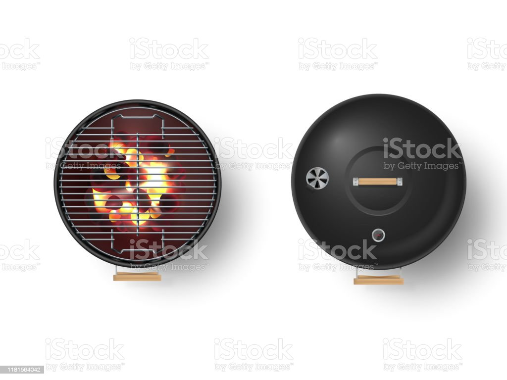 Round empty barbecue grill top view vector set. Closed grill and another one with burning coal - Royalty-free Ao Ar Livre arte vetorial
