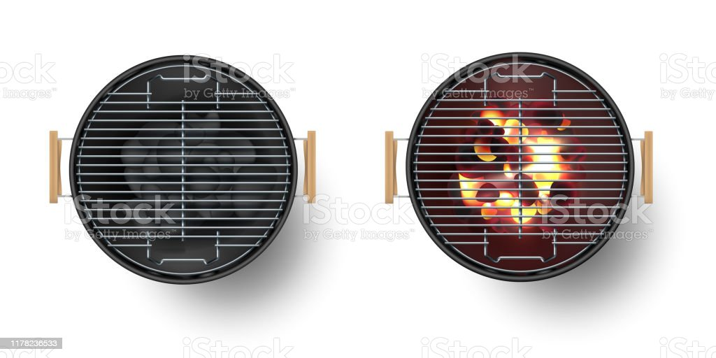 Round empty barbecue grill top view vector set. Unlit grill with Charcoal and another with burning coals. - Royalty-free Admirar a Vista arte vetorial