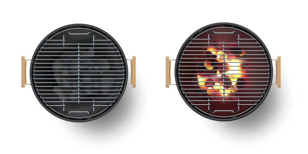 ilustrações de stock, clip art, desenhos animados e ícones de round empty barbecue grill top view vector set. unlit grill with charcoal and another with burning coals. - burned cooking