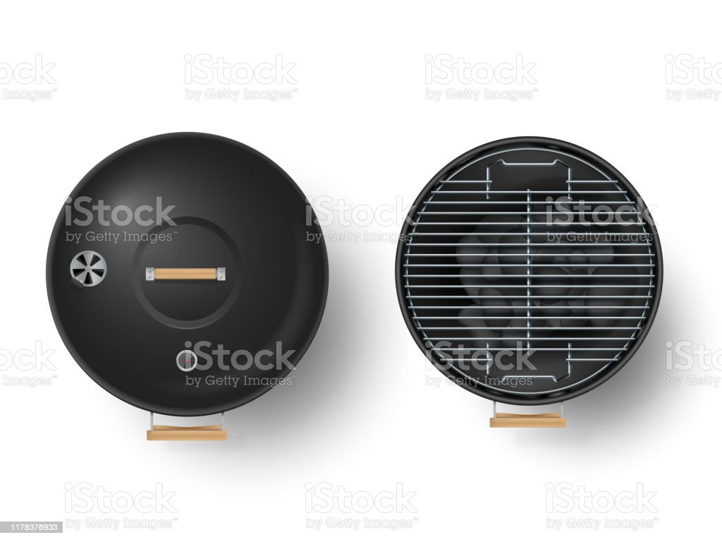 Round empty barbecue grill top view vector set. Unlit grill with Charcoal and another with burning coals. - Royalty-free Ao Ar Livre arte vetorial