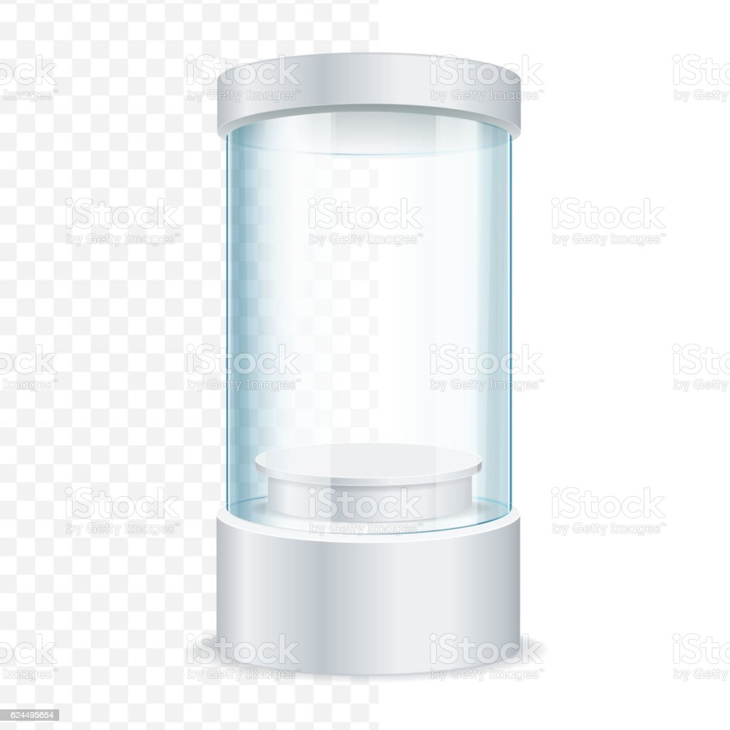 Round Empty Glass Showcase for Exhibit. Vector vector art illustration