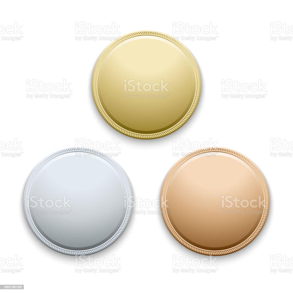 Round empty polished gold, silver, bronze, medals, coins vector template vector art illustration