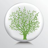 Round Environment Icon With Cherry Blossom Tree