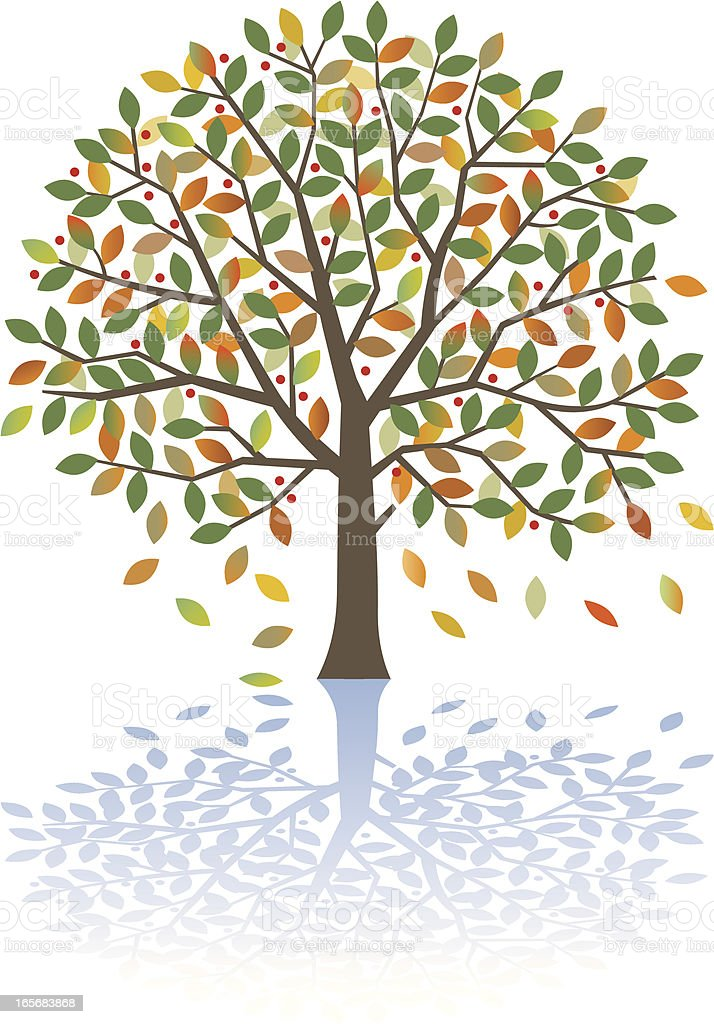 Round fall tree royalty-free stock vector art