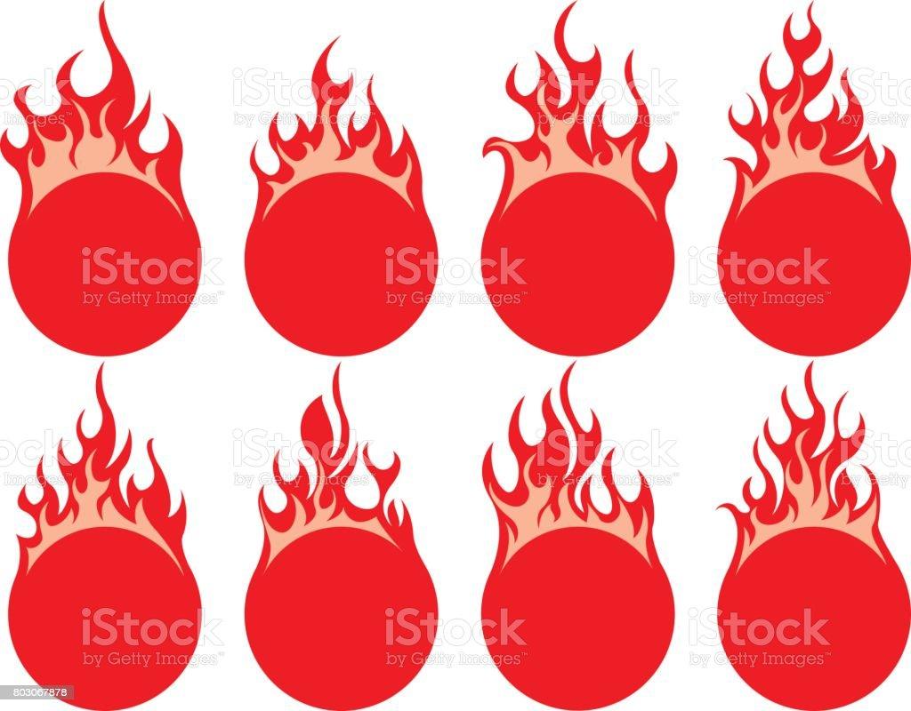 Round fire icon vector art illustration