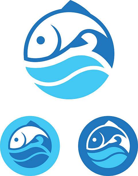 Round Fish Icon vector art illustration