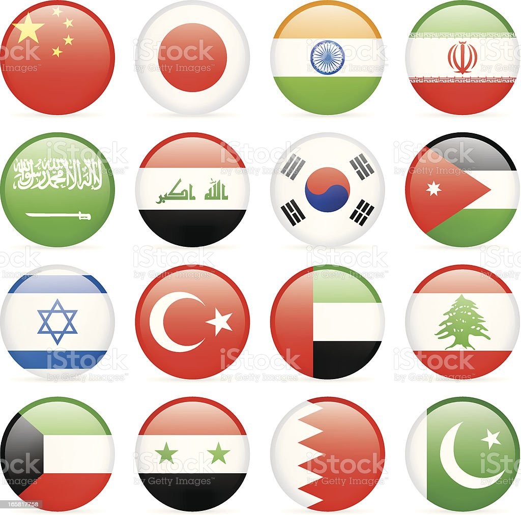 Round Flag Icon Collection - Asia vector art illustration