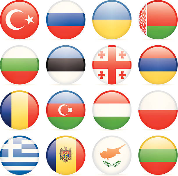 Round Flag Icon Collection - East and Southern Europe European Flags Collection azerbaijan stock illustrations