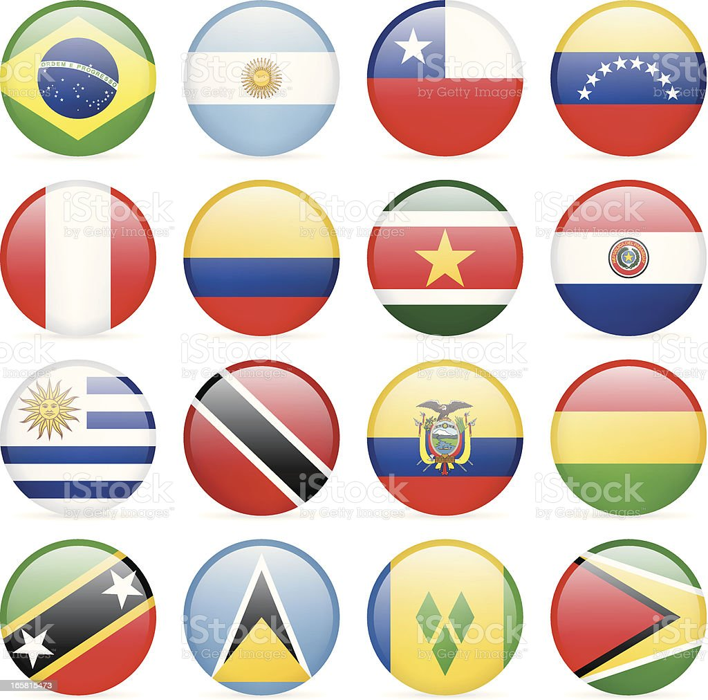 Round Flag Icon Collection - South and Central America vector art illustration