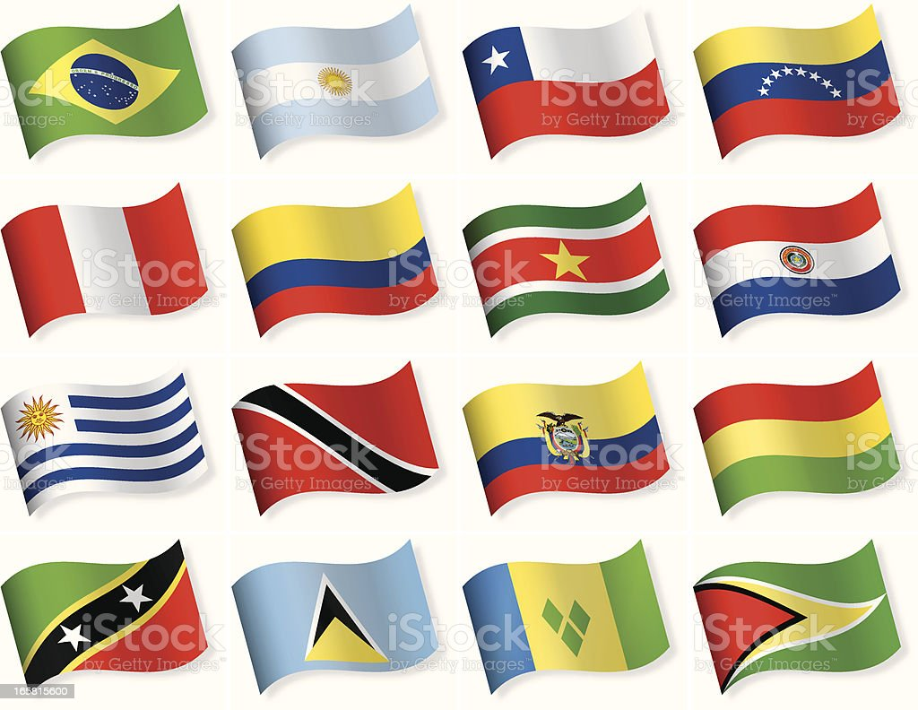 Round Flag Icon Collection - South and Central America royalty-free round flag icon collection south and central america stock vector art & more images of argentina