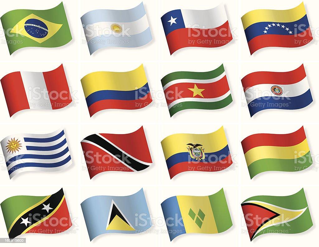Bandera todo el icono colección-Sur y América Central - ilustración de arte vectorial