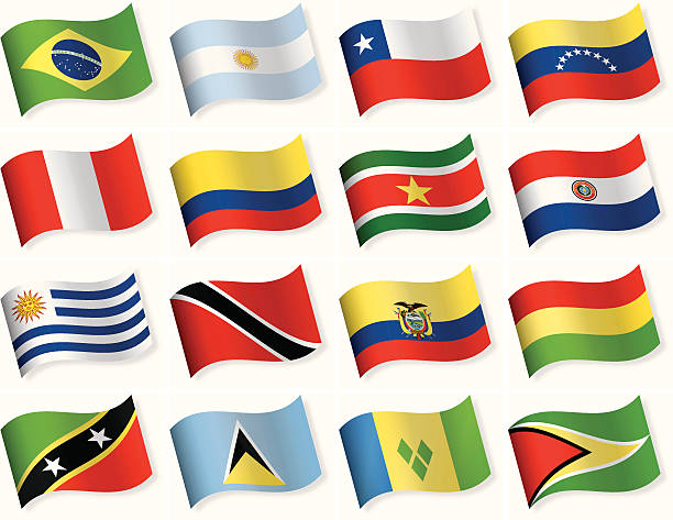 round flag icon collection - south and central america - ecuador flag stock illustrations