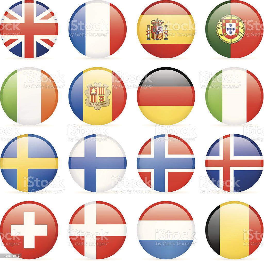Round flag icons - Western and Nothern Europe vector art illustration