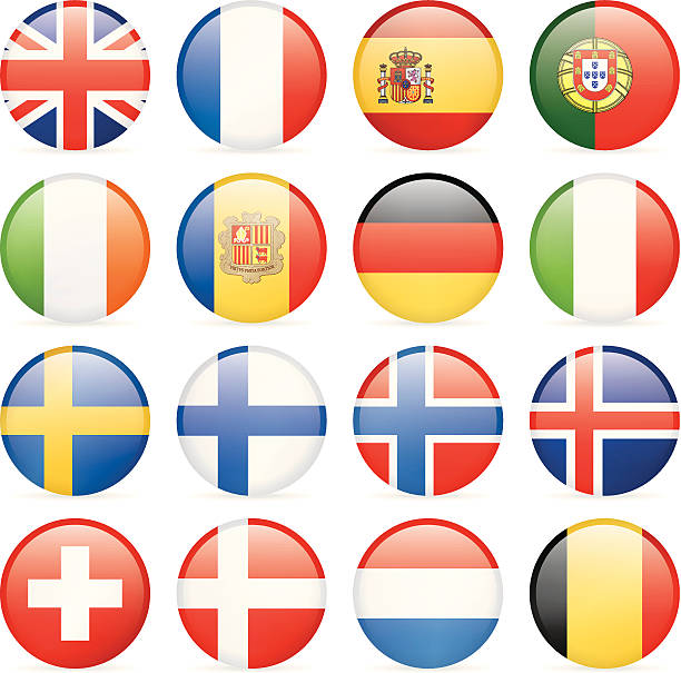 round flag icons - western and nothern europe - spanish flag stock illustrations, clip art, cartoons, & icons