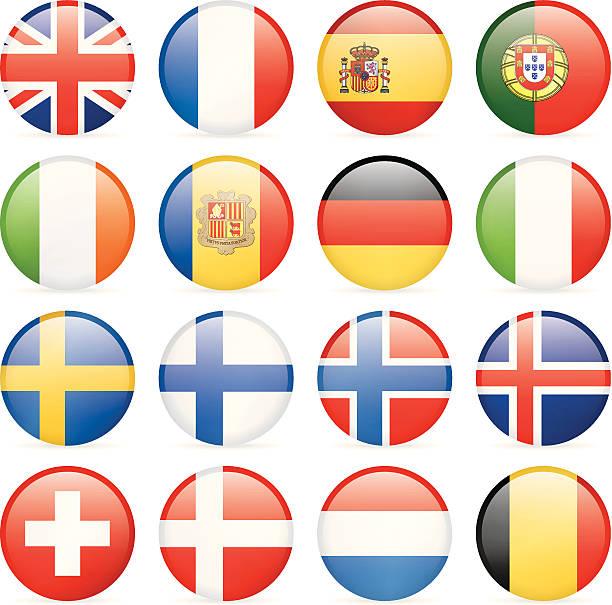 runde flaggen-icons-westliche und nordeuropa-routen - flagge irland stock-grafiken, -clipart, -cartoons und -symbole