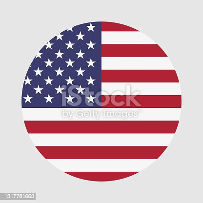 istock Round flag of America country. America flag with button or badge. 1317781663