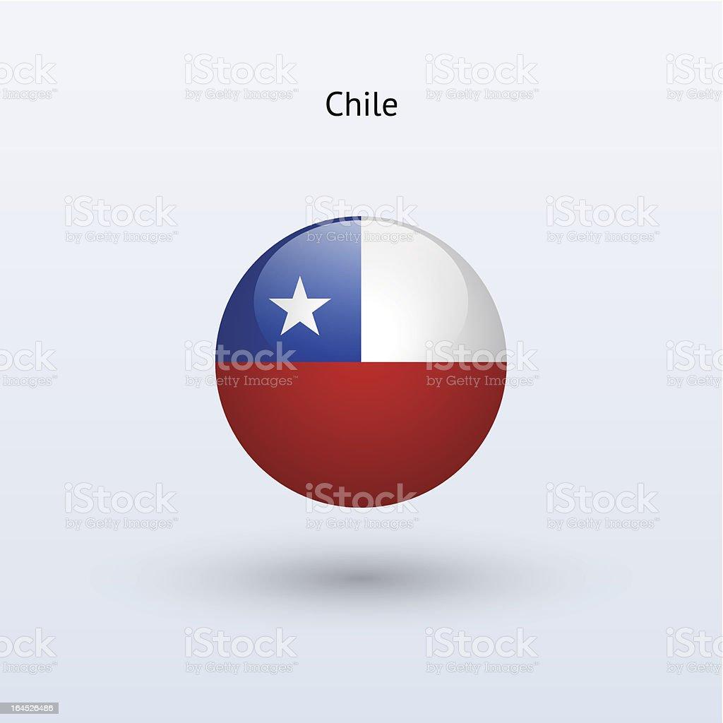 Redondo bandera de Chile - ilustración de arte vectorial
