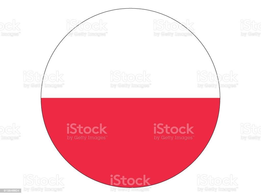 Round Flag of Poland vector art illustration