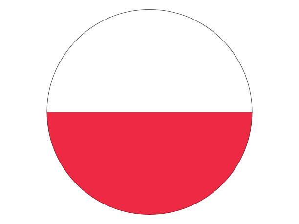 round flag of poland - polish flag stock illustrations, clip art, cartoons, & icons