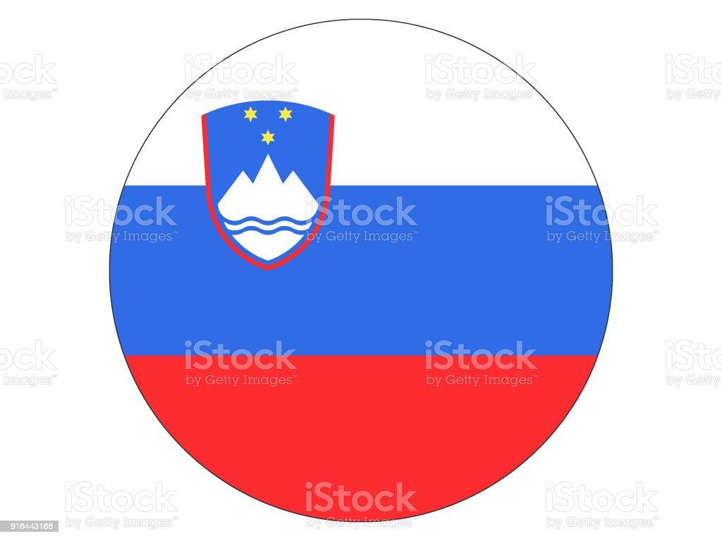 Round Flag of Slovenia vector art illustration
