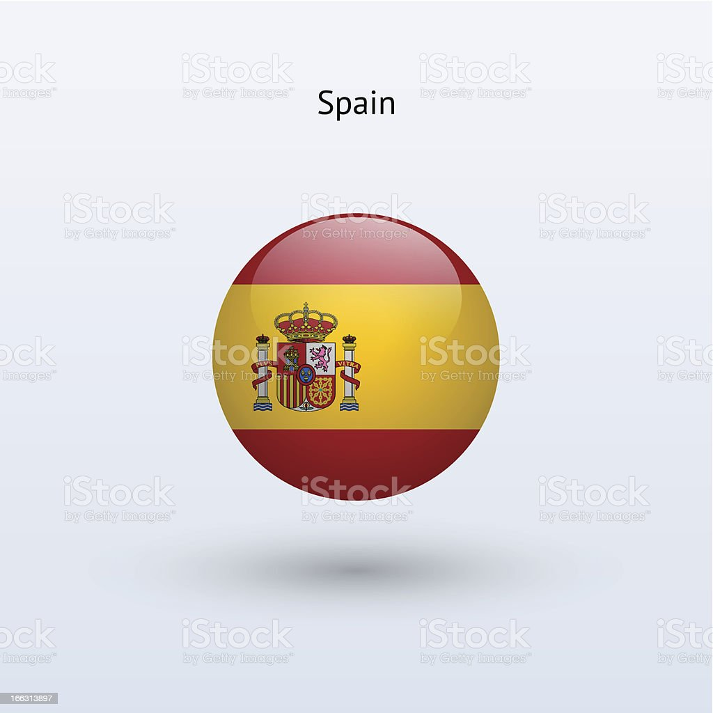 Round flag of Spain royalty-free stock vector art