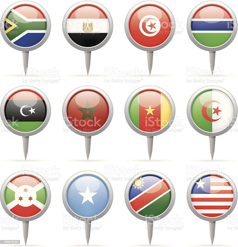 Round flag pins - Africa vector art illustration
