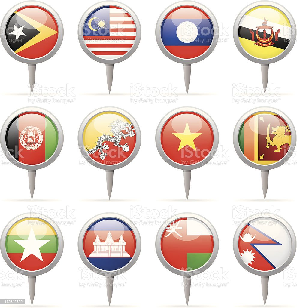 Round flag pins - Asia royalty-free stock vector art