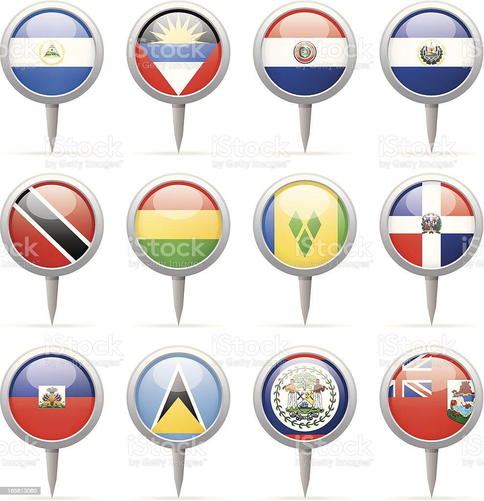Bandera de contactos redondos, Centroamérica y América del Sur - ilustración de arte vectorial
