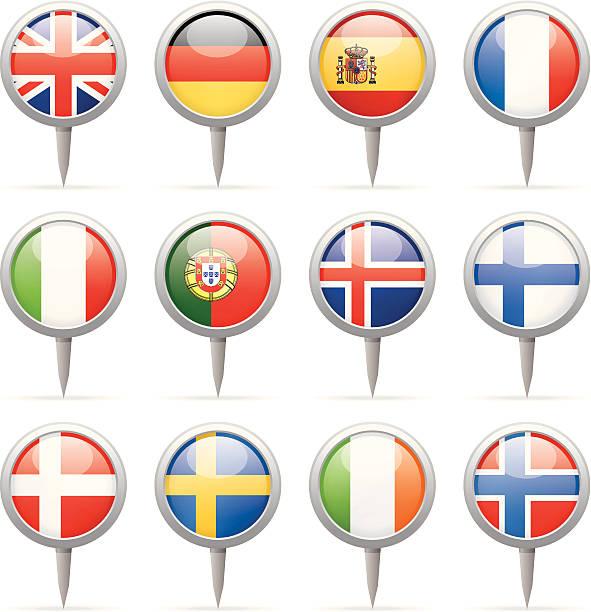 ラウンドピン-ヨーロッパフラグ - アイルランドの国旗点のイラスト素材/クリップアート素材/マンガ素材/アイコン素材