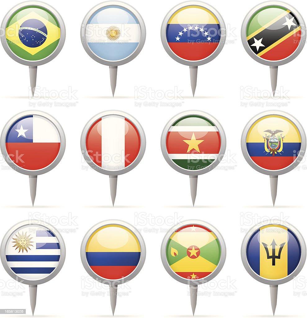 Bandera de contactos redondos-Sur y América Central - ilustración de arte vectorial