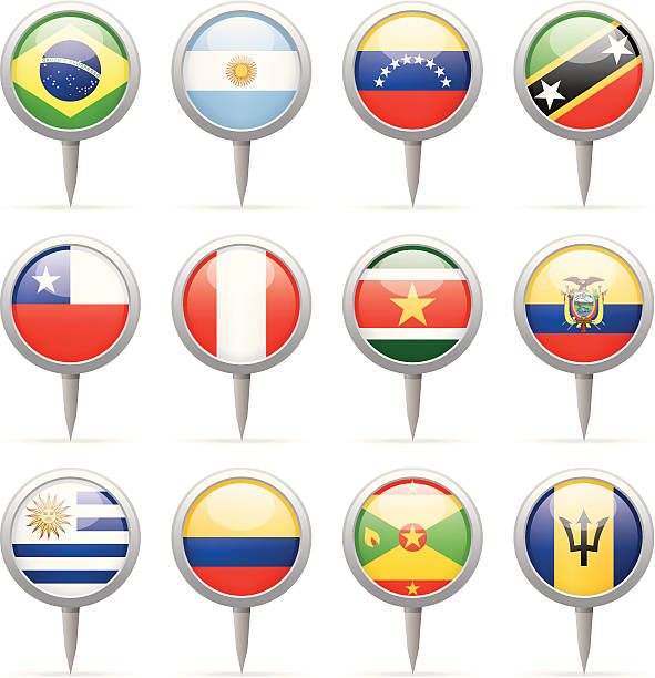 round flag pins - south and central america - ecuador flag stock illustrations