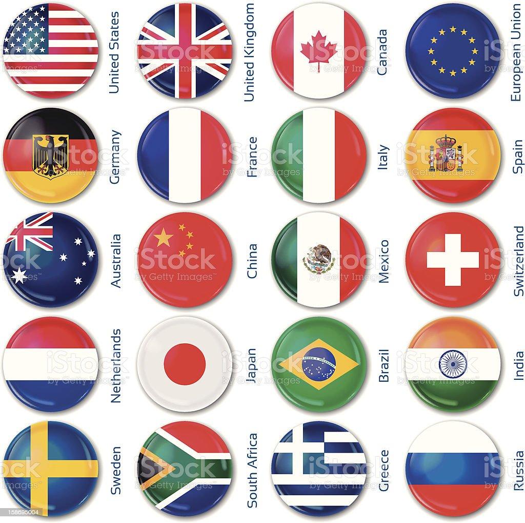 丸みのある国の旗 ベクターアートイラスト