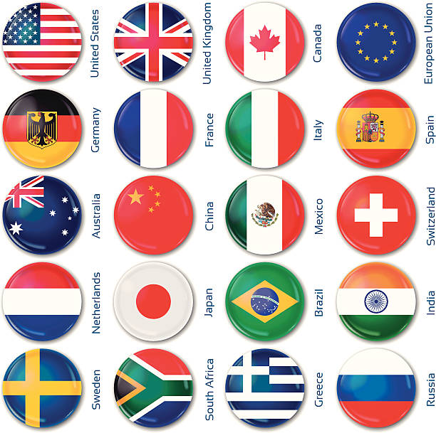 ilustrações, clipart, desenhos animados e ícones de rodada bandeiras de países populares - botões de bandeiras