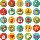 Round Flat Color Christmas Icons - Illustration