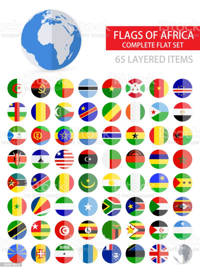 Round Flat Flags of Africa Complete Set vector art illustration