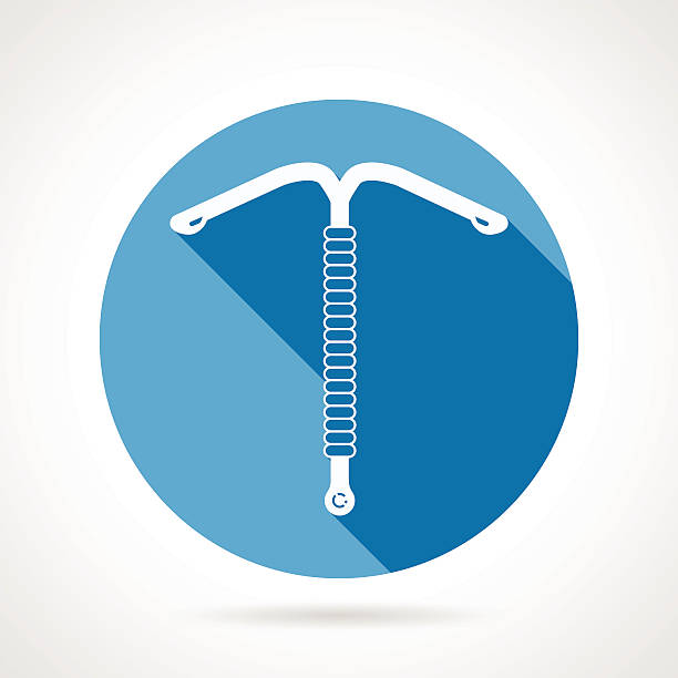 IUD round flat vector icon Blue round flat vector icon with white silhouette intrauterine device or IUD on gray background with long shadow. spermicide stock illustrations