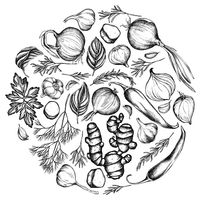 Round floral design with black and white onion, garlic, pepper, greenery, ginger, basil, rosemary