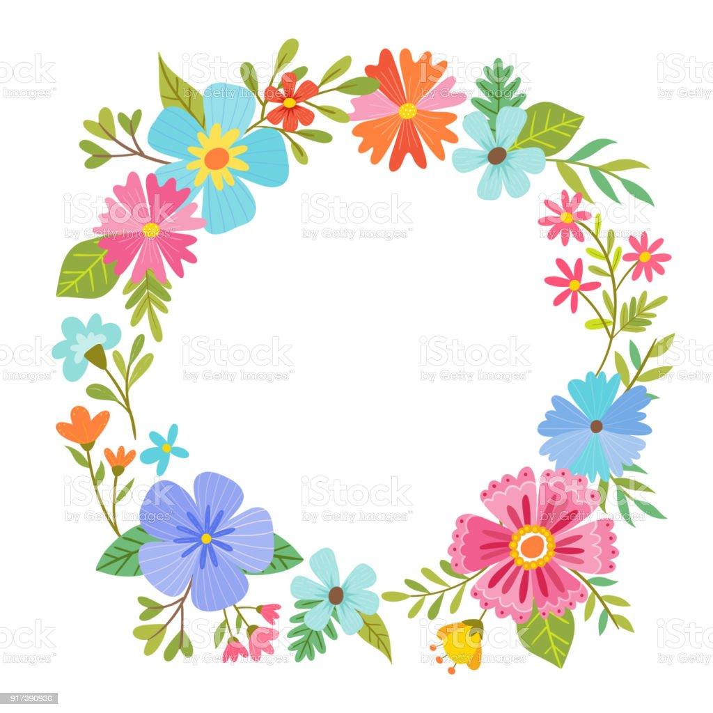 Ilustración de Diseño Del Marco Floral Redondo y más banco de ...