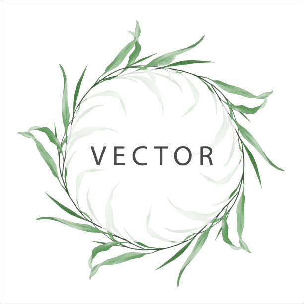 runder floraler rahmen aus zarten geometrischen wilden blättern - clipart goldene hochzeit stock-grafiken, -clipart, -cartoons und -symbole