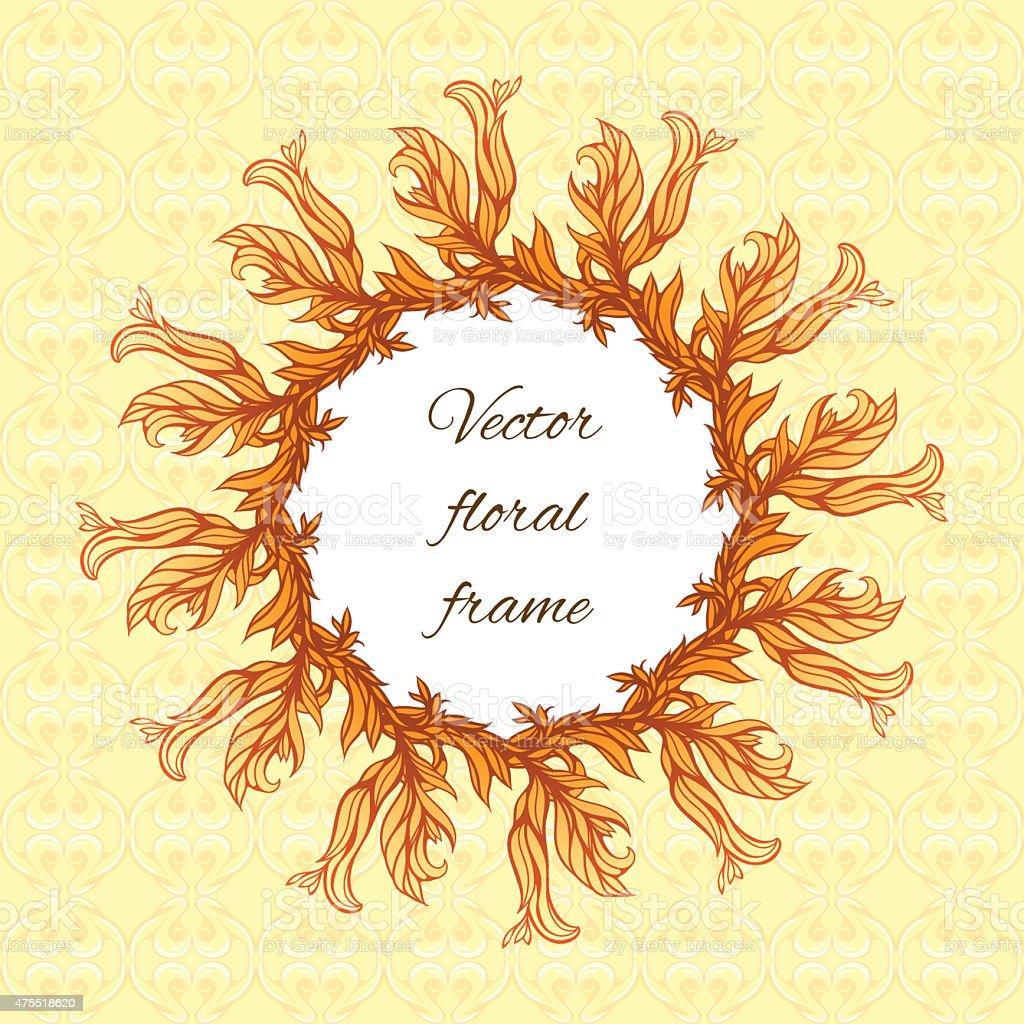 Ilustración de Redondo Marco Floral Con Fondo De Formas Geométricas ...