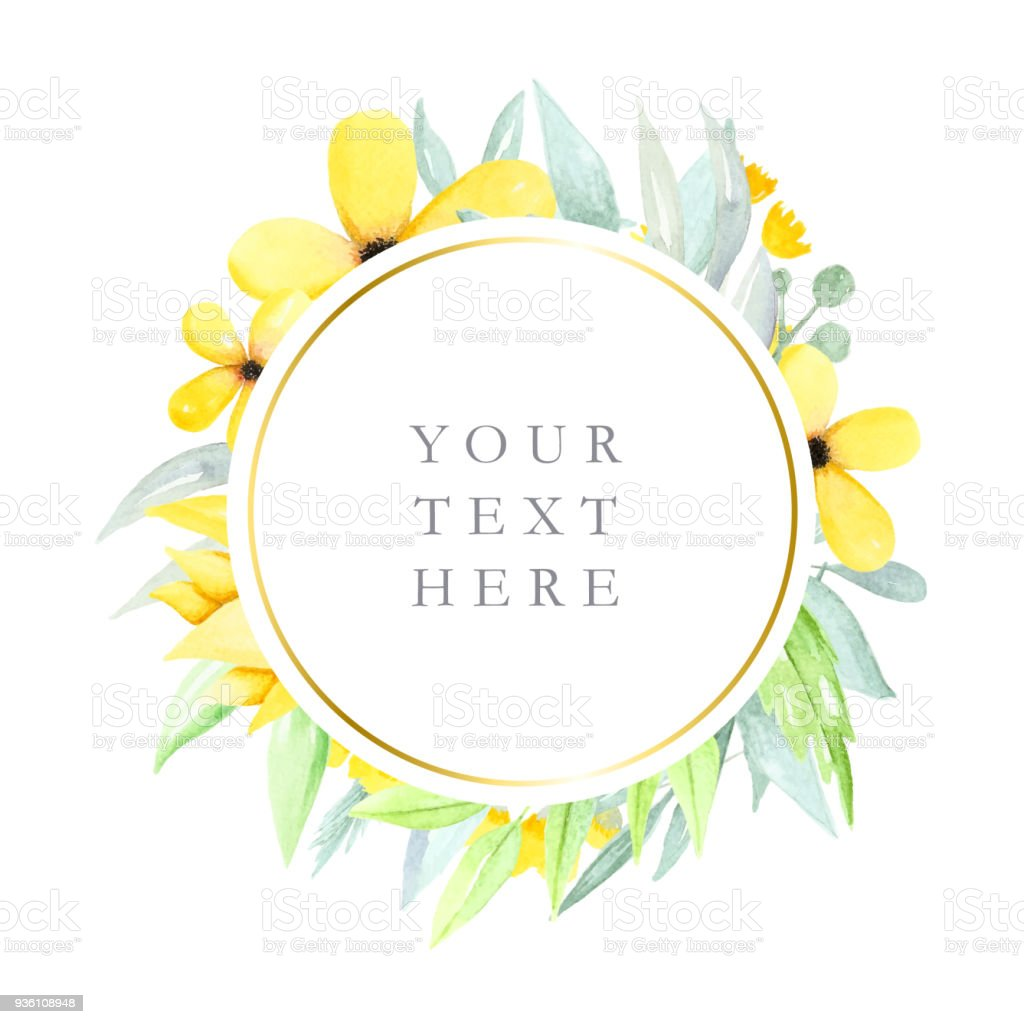 Round Floral Frame With Watercolor Flowers And Leaves Yellow