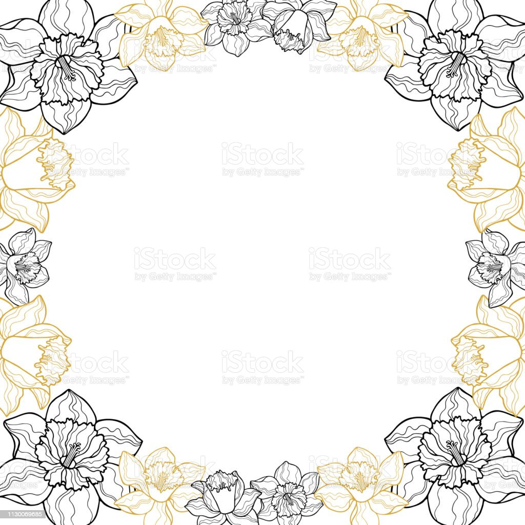 Round floral garland with yellow narcissus. Circle vector frame of...