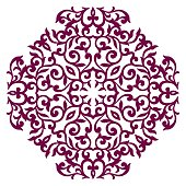 Round floral ornament. Eight-square