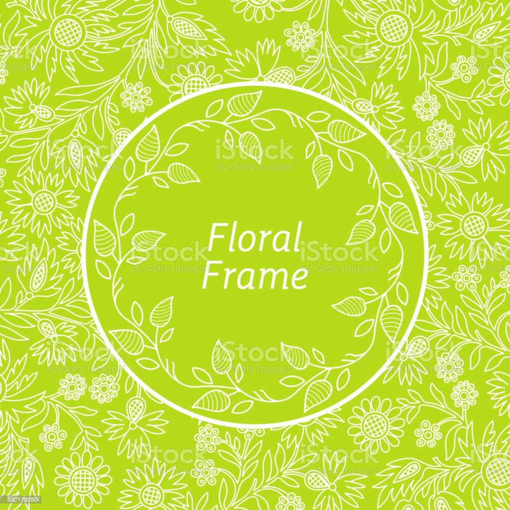 Redondo Floral Adornado Marco - Arte vectorial de stock y más ...