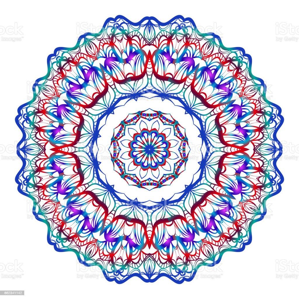 Round Floral Pattern Decorative Coloring Mandala Design Element For