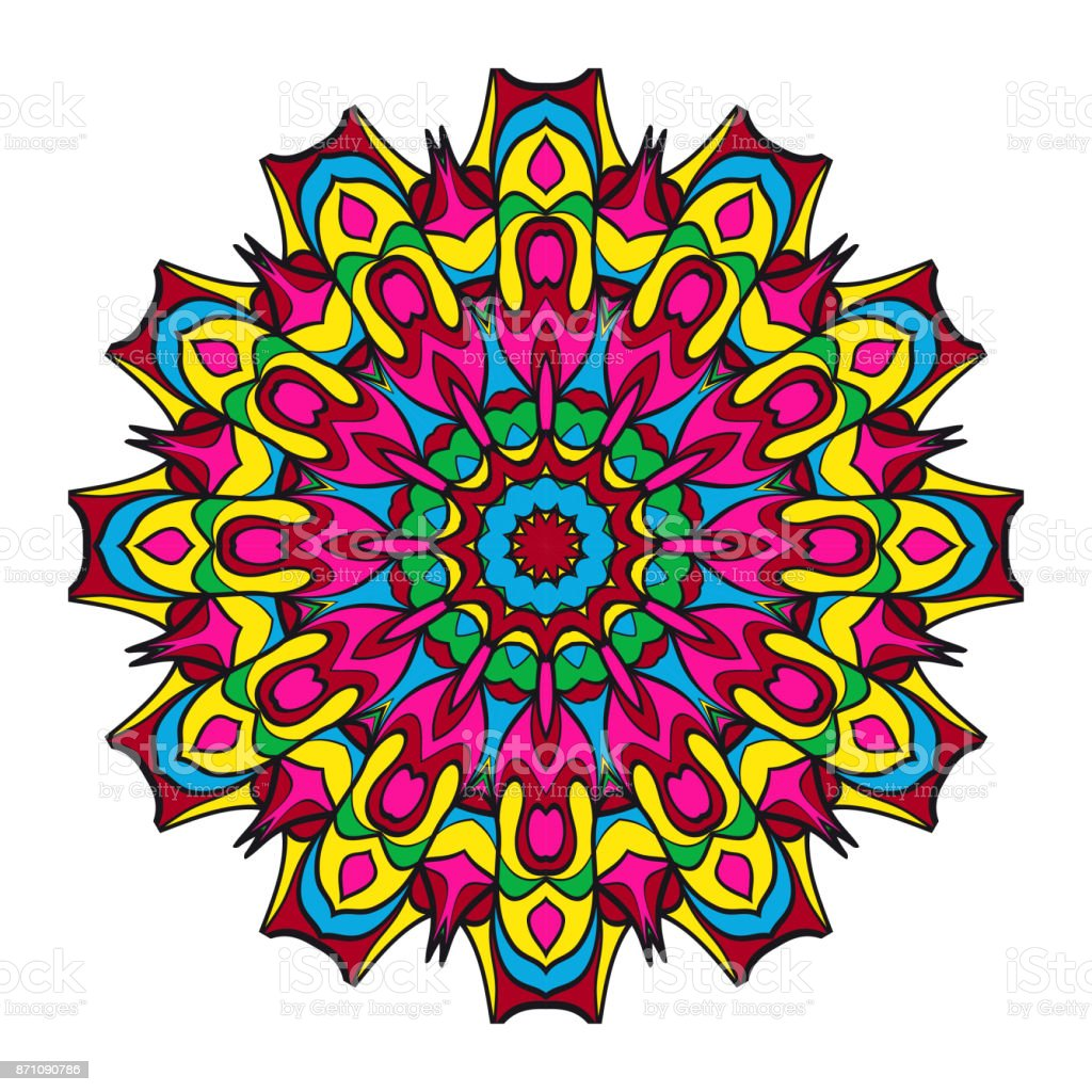 Round Floral Pattern Decorative Coloring Mandala For Tattoo
