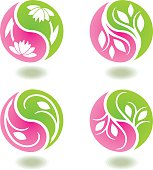 Set of circular floral icons with shadows