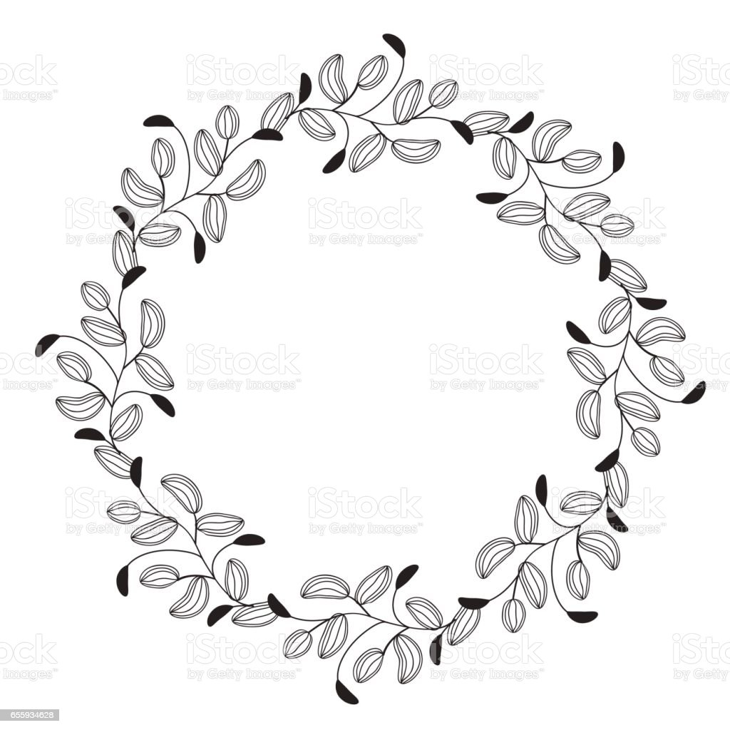 Round flourish vintage decorative whorls frame leaves